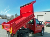 DuraClass Yardbird, 9' 2-3 yard dump body with vertical side braces and full height board pockets and 1/2 cabshield.