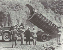 DuraClass - Heil 14-ton dump body at Hoover Dam in the early 1930s